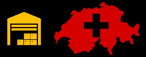 Bild eines stilisierten Lagers und die Umrisse der Schweiz.