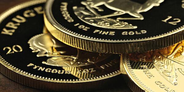 Drei Krügerrand Münzen übereinander