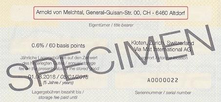 Bildsausschnitt eines Ordrelagerscheins mit dem Namen des Ersteigentümers