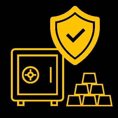 Ein Tresor, ein Schild und Goldbarren symbolisieren die kontrollierte und versicherte Lagerung