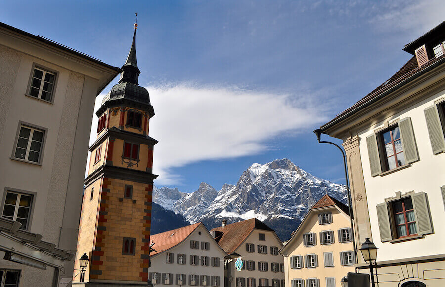 View of the Townhall Square with William Tell monument in Altdorf, Canton Uri