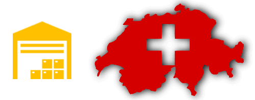 Stylised image of a warehouse and the outline of Switzerland.