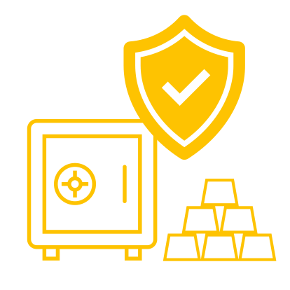 A vault, a shield and gold bars symbolise controlled and insured storage